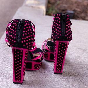 Mod Hot Pink & Black Studded Platform Heels